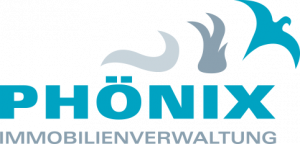 Logo Phoenix Immbilienverwaltung: bestehend aus dem Schriftzug der Wörter Phoenix und Immobilineverwaltung, über den letzten drei Buchstaben des Wortes Phoenix sieht man drei Objekte die Rauch, Feuer und den Vogel Phoenix darstellen sollen