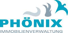 Logo Phoenix Immbilienverwaltung: bestehend aus dem Schriftzug der Wörter Phoenix und Immobilineverwaltung, über den letzten drei Buchstaben des Wortes Phoenix sieht man drei Objekte die Rauch, Feuer und den Vogel Phoenix darstellen sollen.